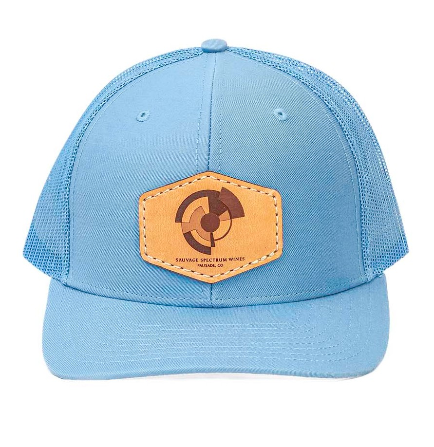 Trucker Leather Patch Hat-Light Blue