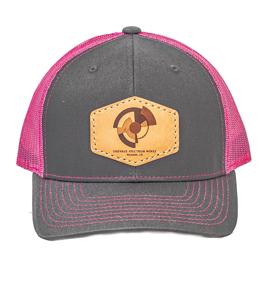 Trucker Leather Patch Hat-Pink/Grey