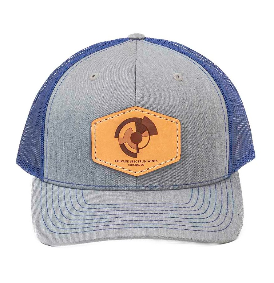 Trucker Leather Patch Hat-Royal Blue/Grey